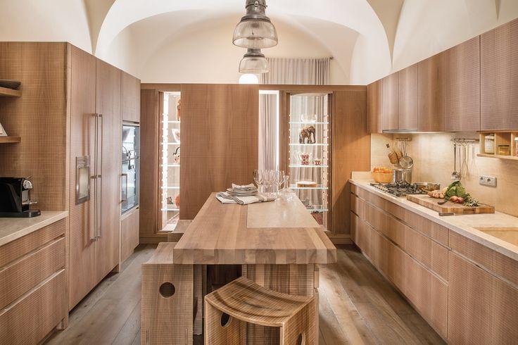 National walnut kitchen finished by hand plane.  #Habito #GiuseppeRivadossi #Italy #design #kitchen #wood