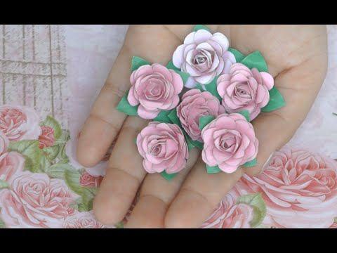 SCRAP- HACIENDO ROSAS.               Como fazer rosa para scrapbook sem furador