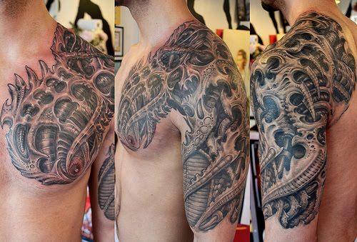 half sleeve biomechanical tattoos for men - http://tattooswall.com/half-sleeve-biomechanical-tattoos-for-men.html #biomech tattoos, biomechanical, for, half, men, sleeve, tattoos