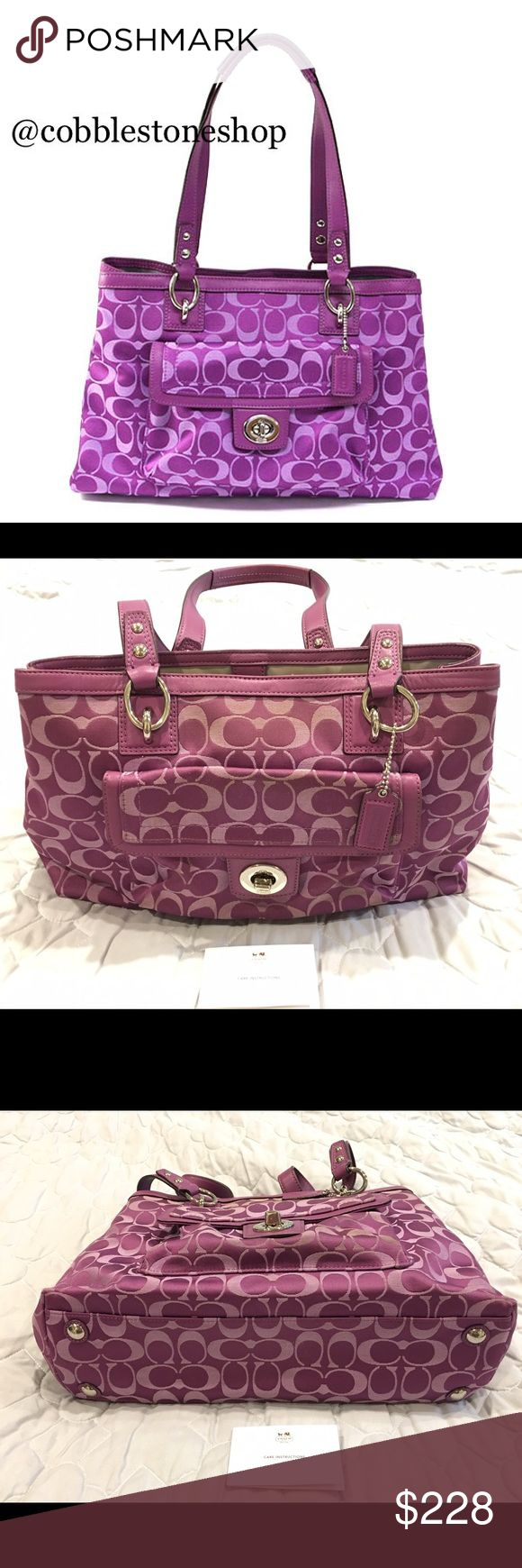 """Coach F19043 Plum Penelope signature carryall Coach F19043 Plum Penelope signature carryall length 14.5"""" x Height 9.25"""" x Depth 4.75""""  Handle drop 8.75 Some slight wear/discoloration/small marks on inside see pictures  Make an offer  Coach Bags"""