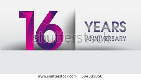 sixteen years Anniversary celebration logo, flat design isolated on white background, vector elements for banner, invitation card for 16th birthday party