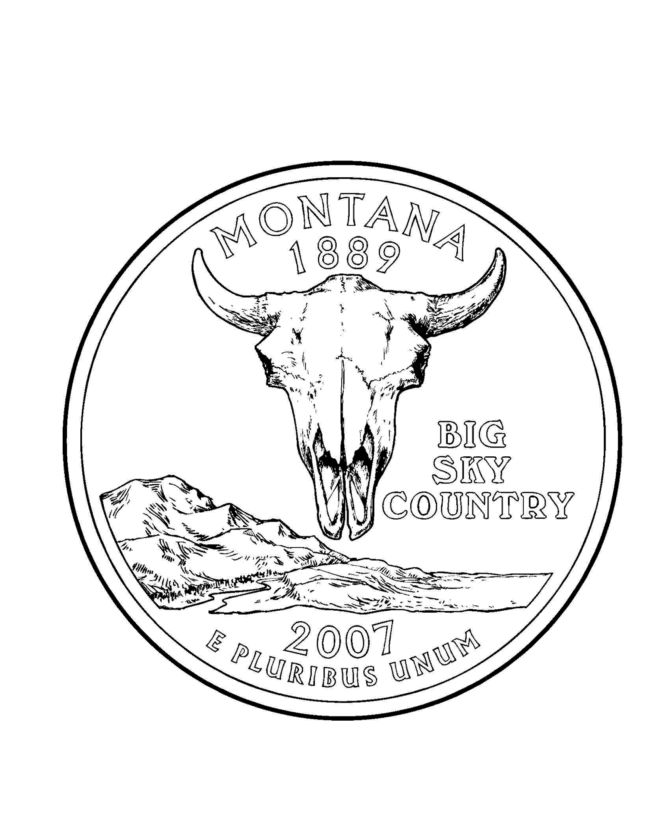 152 best usa state quarters images on pinterest mint for Montana coloring pages