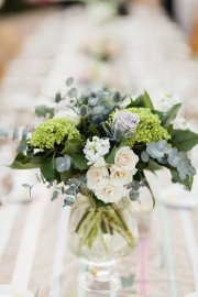 Love the simplicity of white roses with lots of different greens
