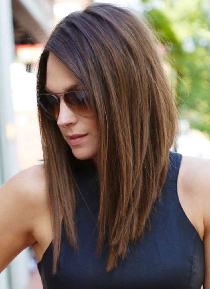 cool Укладка волос средней длины (55 фото) — Прически с челкой и без