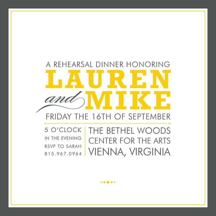"""Cocktail Hour"" - Simple, Modern Rehearsal Dinner Invitations in Corn Yellow by Ariel Rutland."