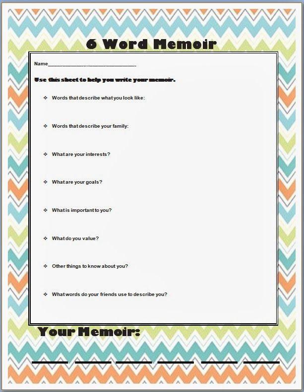 6 Word Memoir Worksheet