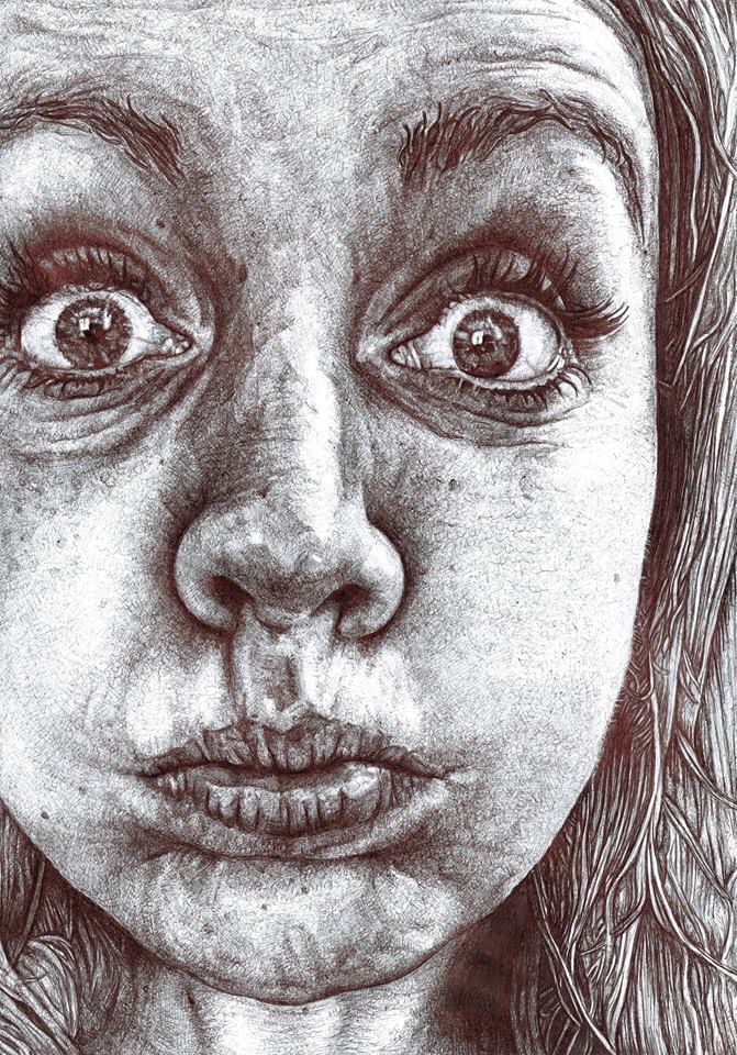 Funny face drawing in black biro. Ruth Bilham Art,