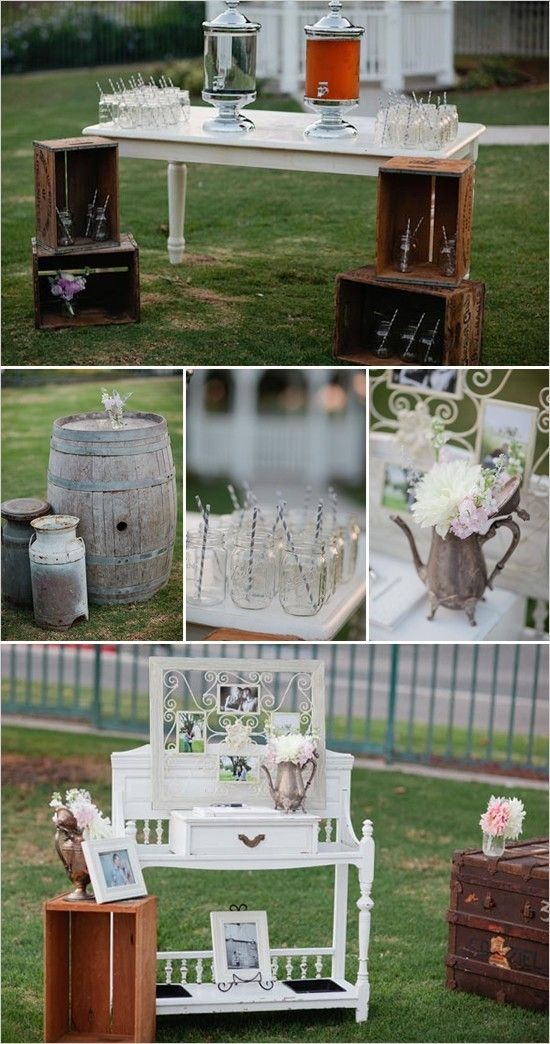 vintage wedding decor… crates, old furniture, barrels