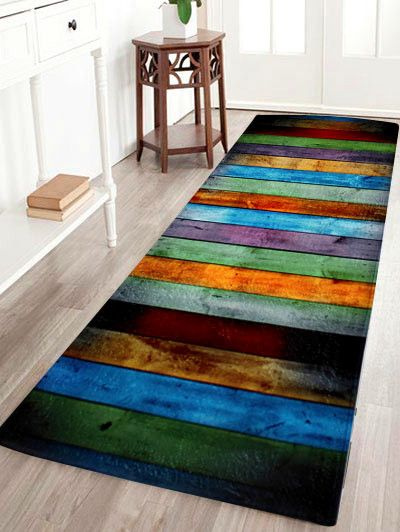 $11.47 Color Stripe Antislip Coral Velvet Area Rug