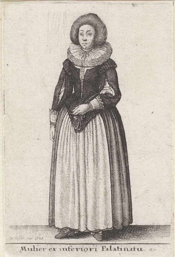 Wenceslaus Hollar | Mulier ex inferiori Palatinatu, Wenceslaus Hollar, 1643 | Staande vrouw in klederdracht uit de Palts. Op het hoofd een bontmuts. Rijglijf met ronde halsuitsnijding en bragoenen, dat van voren uitloopt in een punt. Mouwen met splitten en manchetten, afgezet met kant. Dikke plooikraag die met een lintje aan de voorkant is vastgebonden. Enkellange rok met witte schort. Schoenen met hakken.