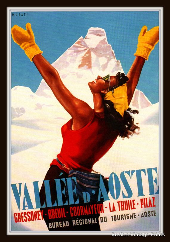 Vintage Travel Poster VALLE d AOSTE circa by RosiesVintagePrints, $25.00
