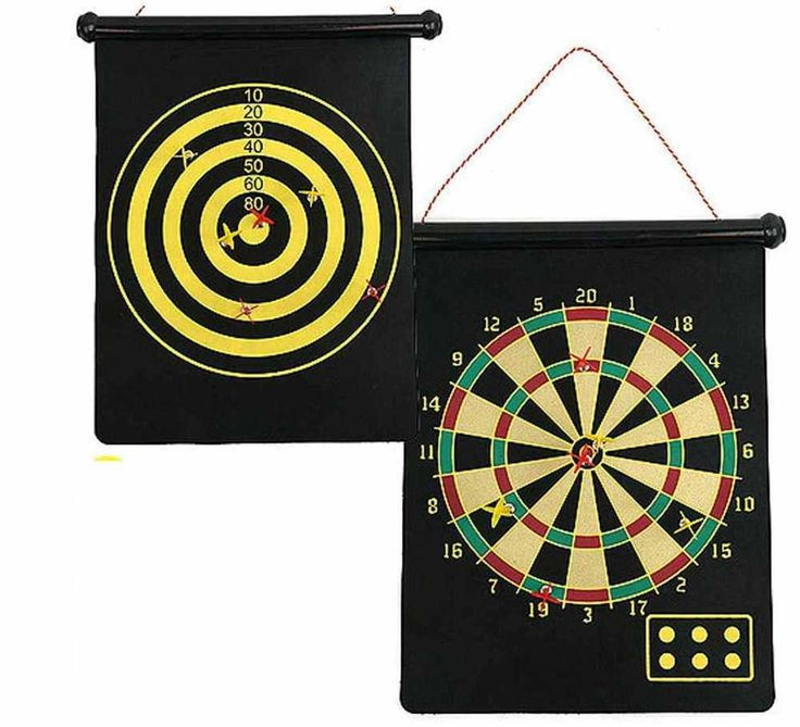 Dart Board Game Magnetic 2 Sided Dartboard Bullseye Target & 6 Child Safe Dart