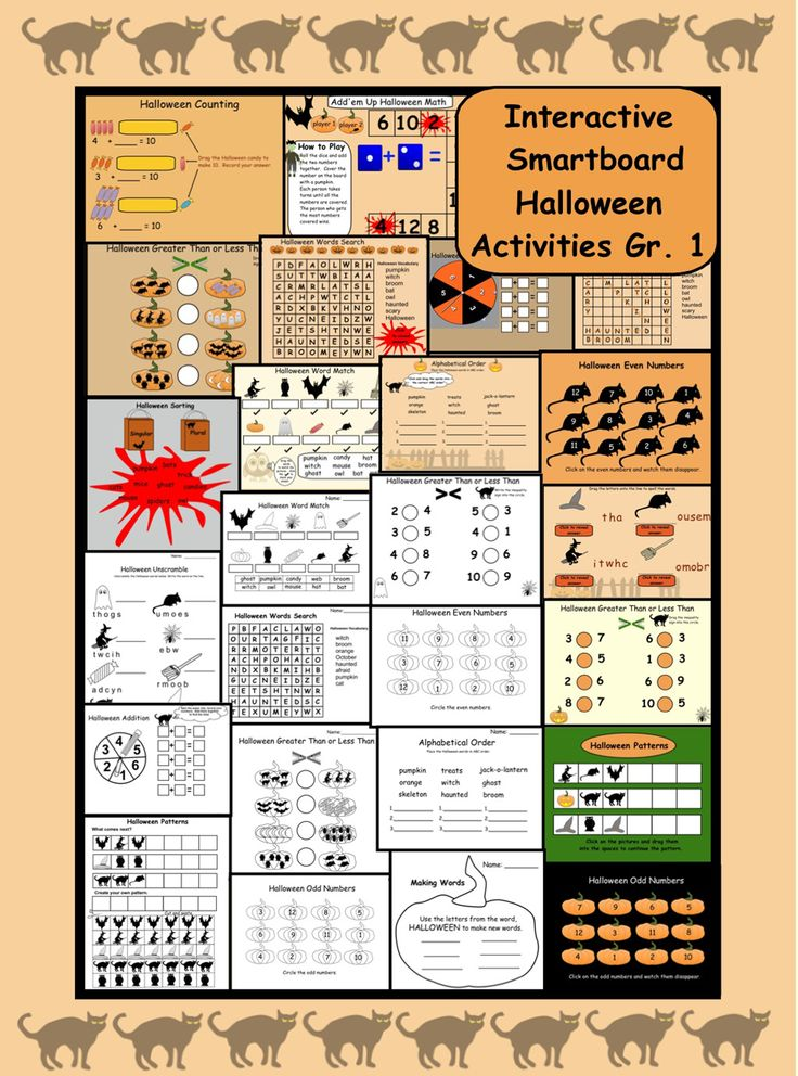 interactive smartboard halloween math and language gr 1 - Online Halloween Math Games