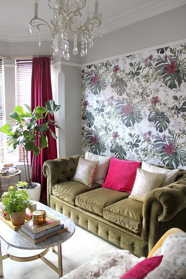 Fuschia and Olive Living Room