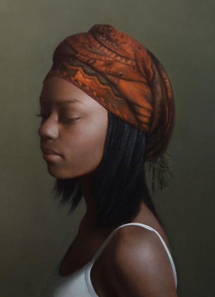 """Journey"" - David Gray (b. 1970), oil on canvas {contemporary figurative realism art beautiful female headdress african-american black young woman face profile portrait cropped art painting #loveart} davidgrayart.com"