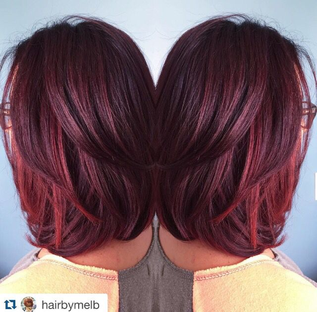 Hair by Melody, Lake Geneva WI. Aveda Plum, Violet and Red