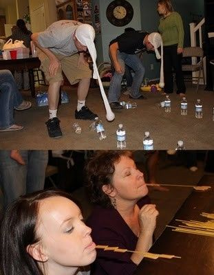 Adult Party Game: 2 players-  Set up full water bottles in two rows  Place a tennis ball into a leg of a panty hose, and pull the waist of the panty hose over the head Place hands behind back and swing head to try to knock over the bottles First one to finish wins