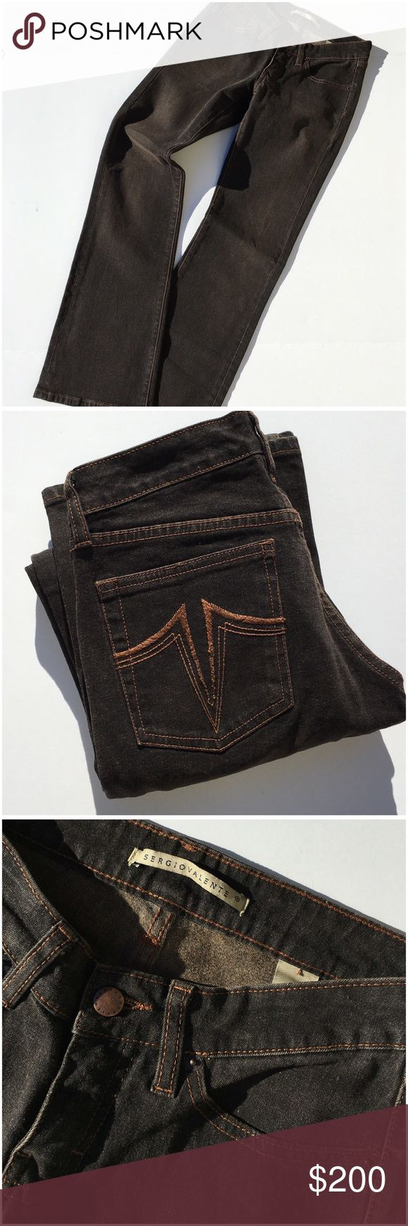 Sergio Valente Jeans Super cool and On Trend right now! Copper wash over black denim, copper stitching, riveted  and five pockets, 99% cotton 1% Lycra,   inseam 32 NWOT (WJ1 Sergio Valente Jeans Boot Cut