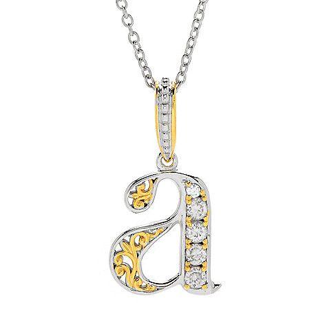 """161-101 - Gems en Vogue White Zircon 5-Stone Initial Pendant w/ 18"""" Cable Chain"""
