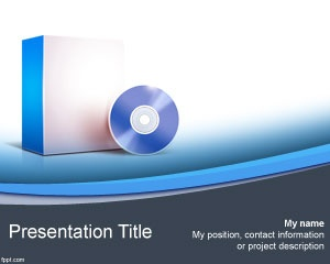 Free Computer Software PowerPoint Template with application box and CD or DVD in the image for product showcase