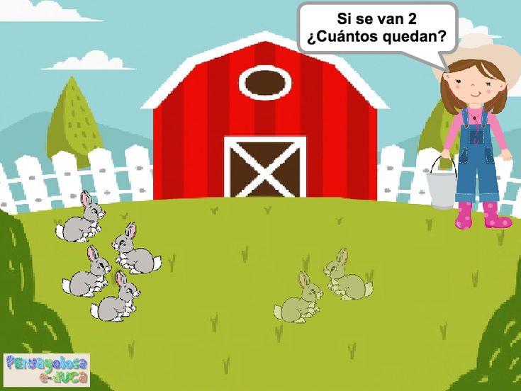 ABN – RESOLUCIÓN PROBLEMAS – NIVEL 1 – ¿Cuántos animales quedan en la granja? (1-10) – En este juego se trabaja la resolución de problemas de cambio 2. En el juego aparece una cierta cantidad animales de los cuales algunos se van. El jugador/a debe establecer cuantos animales han quedado en la granja.