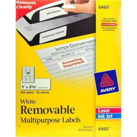 Avery Removable Multipurpose Labels 16460, 1 inch x 2-5/8