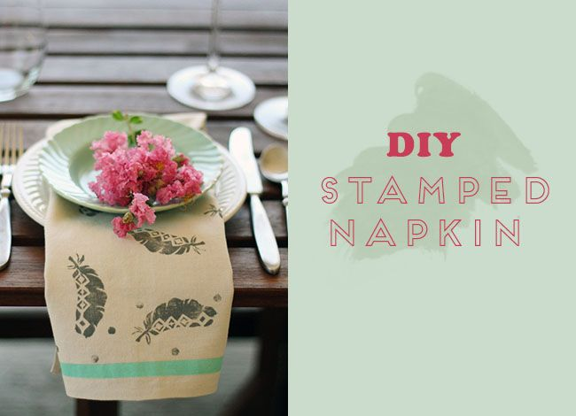 DIY: Stamped Napkins -- advertised for a wedding, but you could use these in your kitchen / dining, too. Fab!