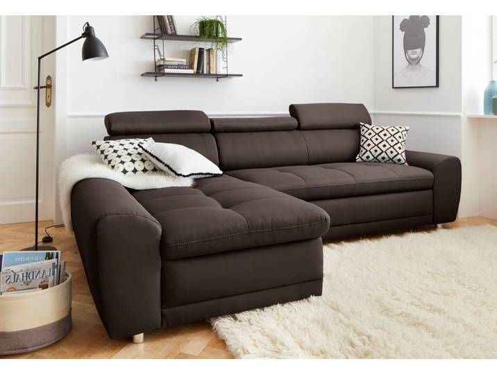 Sit More Eck Sofa Mit Schlaffunktion Braun Stoff Komfortabler Feder Couch Sofa Furniture