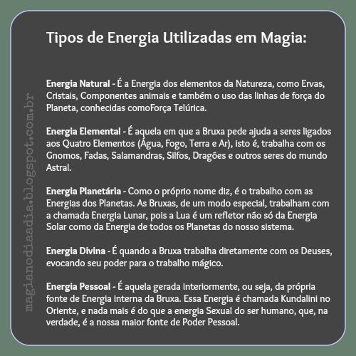 Magia no Dia a Dia: Tipos de Energias Utilizadas em Magia http://magianodiaadia.blogspot.com.br/2017/01/tipos-de-energias-utilizadas-em-magia.html