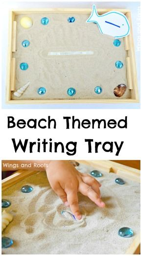 Beach themed writing tray for mark making and early writing.