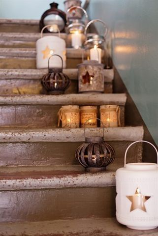 Rustic lanterns are perfect fall decor. Use Candle Impressions flameless candle timer option to save yourself the worry of fire and inconvenience of lighting: