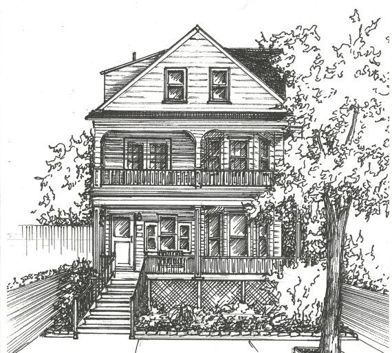 Ink House Drawing -  Architectural sketch of home in black ink- Home portrait on Etsy, $90.00