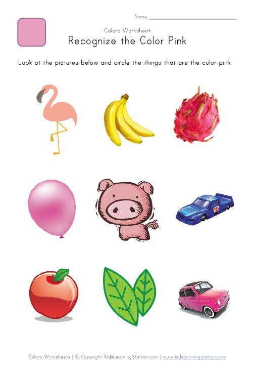 recognize the color pink colors worksheet for kids center ideas pinterest for kids kid. Black Bedroom Furniture Sets. Home Design Ideas
