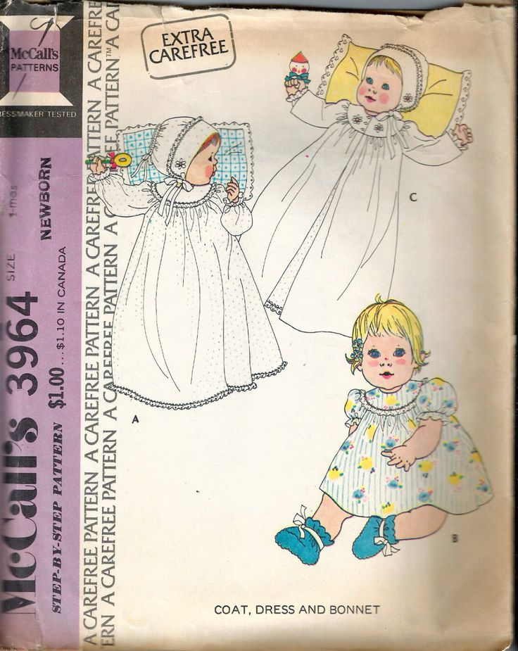 Vintage 1974 McCall's 3964 Newborn Coat, Dress & Bonnet Sewing Pattern Size Newborn 7-12lbs by Recycledelic1 on Etsy
