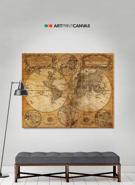 Large world map/Vintage Style map/Map by ArtPrintCanvas on Etsy