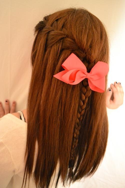 waterfall braid with pink bow