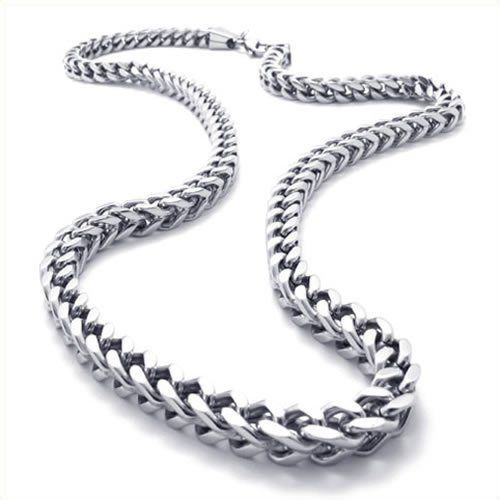 Konov Jewellery Mechanic Style Stainless Steel Mens Necklace Link Chain, Colour Silver, Length 56cm 22 inch (with Gift Bag): Konov Jewellery: Amazon.co.uk: Jewellery