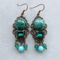 Victorian Cameo orecchini chandelier rame antico swarovski verde smeraldo