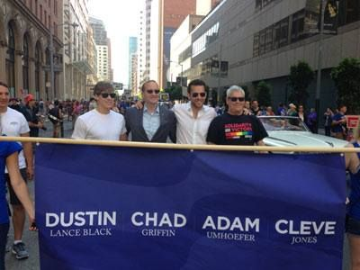 #HRC President Chad Griffin, Dustin Lance Black, Equal Rights Executive Director Adam Umhoefer and Cleve Jones at San Francisco Pride 2013.  http://www.hrc.org/blog/entry/photo-hrc-president-chad-griffin-celebrates-san-francisco-pride