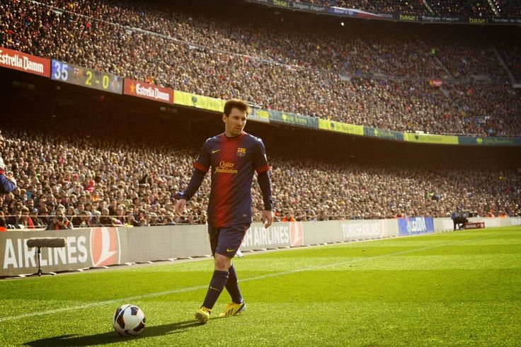 Barcelona's soccer hero, Messi playing at Barca's stadium that Kat tours in #ItsOver Camp Nou.
