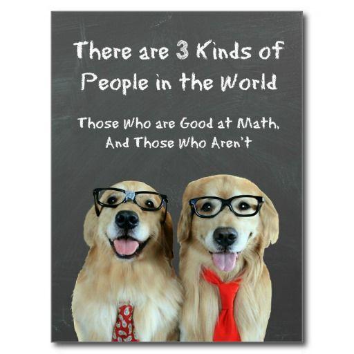 Funny Golden Retriever Math Joke Postcard by #AugieDoggyStore