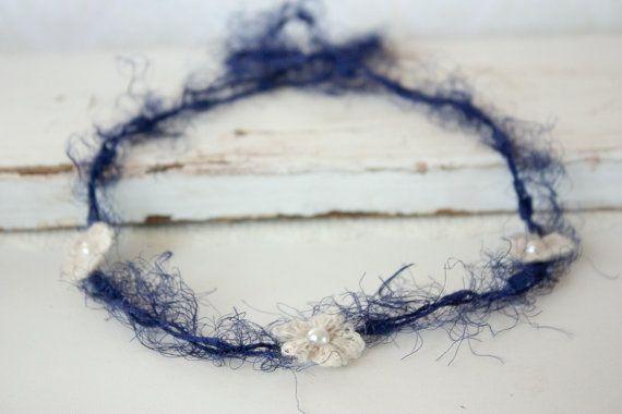 Baby Headband Tie Back Cream Crochet Flowers by BeautyfromashesUSA