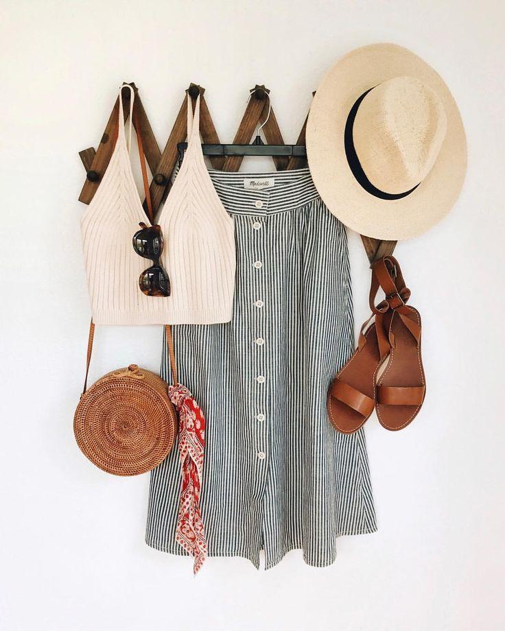pinterest // krauseashley   summer outfit, chic, midi skirt, straw bag, bandana,…