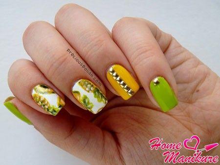 квадратные ногти с фруктовыми рисунками