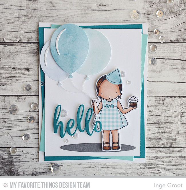 Cupcake Day Stamp Set and Die-namics, Thanks & Hello Die-namics, Big Birthday Balloons Die-namics, Oval Shadows Die-namics - Inge Groot #mftstamps