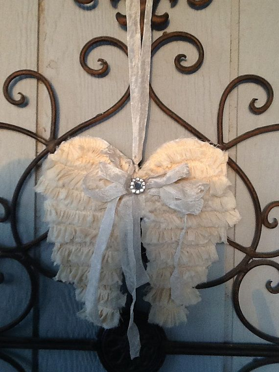 Angel wings door knob hanging wreath embellishment or for Room decor embellishment art