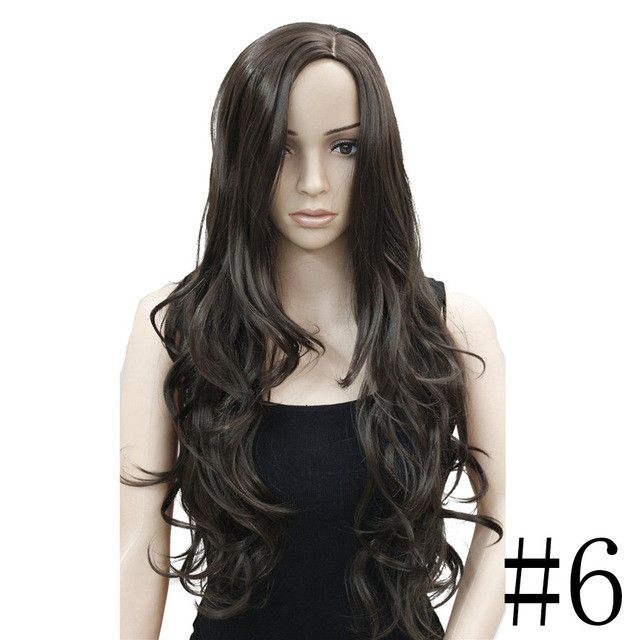 StrongBeauty Women's Wigs Black/Blonde Long Wavy Hairstyles Synthetic Full Wig