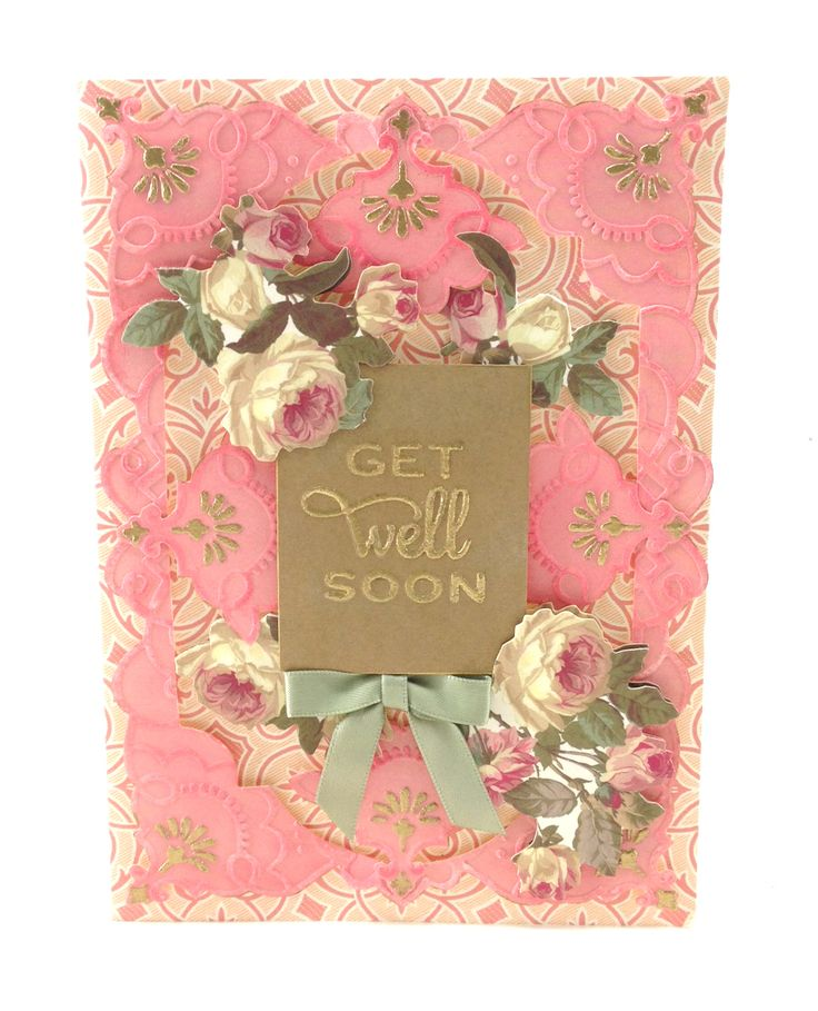 pink and gold heat embossed