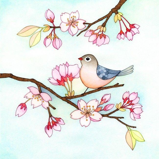 Birdie in a cherry blossom tree