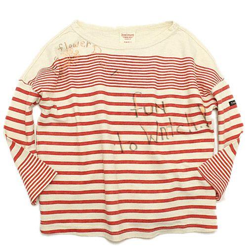 DENIM DUNGAREE(デニム&ダンガリー):カラートップテンジク JDボーダー ラクガキ 9分袖Tシャツ 1W白 の通販【ブランド子供服のミリバール】